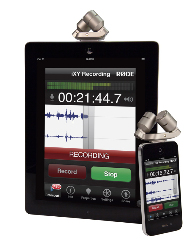 RØDE iXY stereo microphone for the Apple iPhone and iPad and RØDE Rec audio recording app for iOS devices