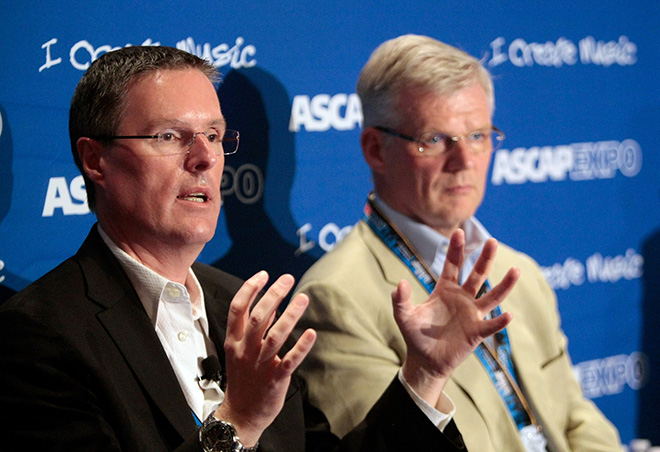 SOCAN CEO Eric Baptiste and PRS for Music CEO Robert Ashcroft during their panel Think Local, Act Global: PROs and Digital Rights Licensing