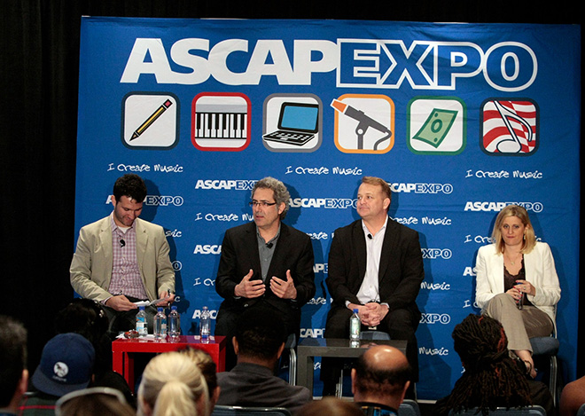 ASCAP's Andrew Sparkler moderates the panel Laying Down the Law: A Legal Q&A for Music Creators with Ken Abdo, Esq.; Steve Butler, Esq.; and Zeina Grenier, Esq.