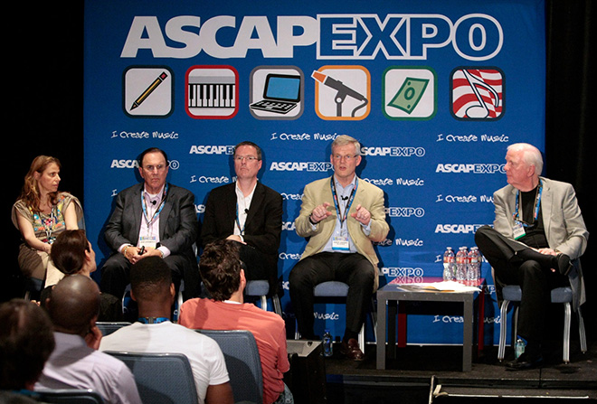 SACEM's Cecile Rap Veber, ASCAP CEO John LoFrumento, SOCAN CEO Eric Baptiste, PRS for Music CEO Robert Ashcroft and ASCAP Board member Dean Kay during their panel Think Local, Act Global: PROs and Digital Rights Licensing