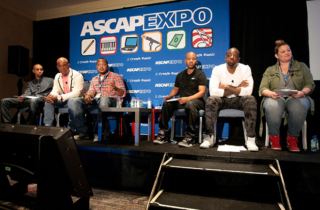 ASCAP's Jonathan Jones, BET's Kelly G, Columbia Records' JR Lindsey, Universal Republic Records' Tab Nkhereanye, Sony/ATV's Sam Taylor and Universal Music Publishing Group's Jill Tschogl during the R&B/Hip-Hop Song Feedback panel
