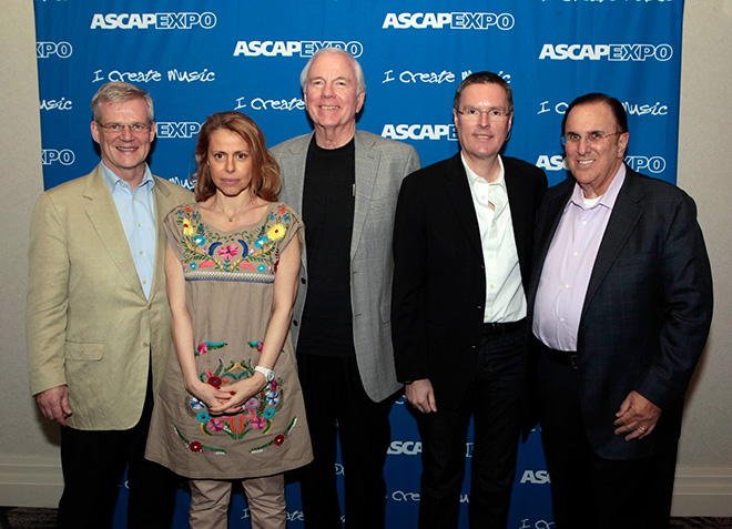 PRS for Music CEO Robert Ashcroft, SACEM's Cecile Rap Veber, ASCAP Board member Dean Kay, SOCAN CEO Eric Baptiste and ASCAP CEO John LoFrumento