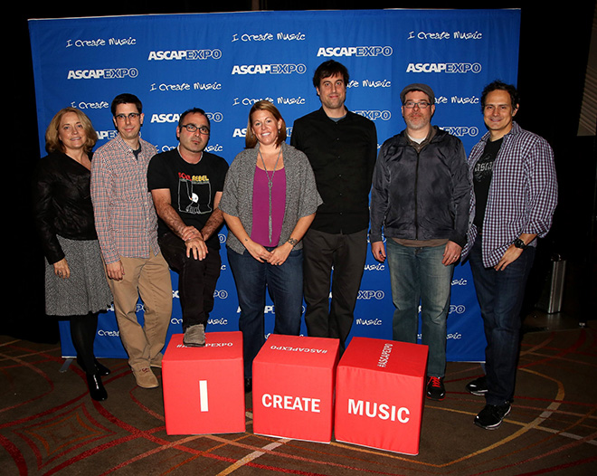 Guild of Music Supervisors' Maureen Crowe, Universal Music Enterprises' Nick Guarino, KCRW's Jason Kramer, Reflection Music's Carrie Hughes, Guild of Music Supervisors' Jason Cienkus, Guild of Music Supervisors' JT Griffith and ASCAP's Mike Todd