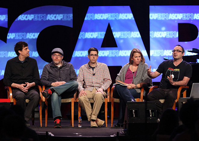 Guild of Music Supervisors' Jason Cienkus, Guild of Music Supervisors' JT Griffith, Universal Music Enterprises' Nick Guarino, Reflection Music's Carrie Hughes and KCRW's Jason Kramer during the panel Music Supervision in the Digital Age