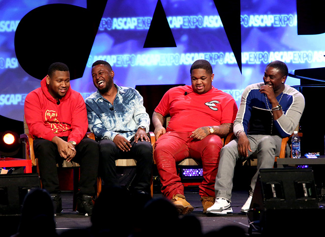 Producer Boi-1da, DJ Camper, DJ Mustard and Producer-songwriter Harmony Samuels during the panel Urban Hitmakers: Maestros of Modern Music
