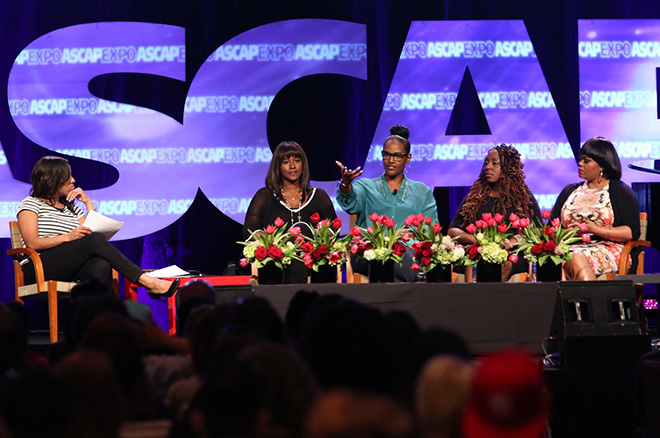 ASCAP's Nicole George-Middleton moderates the panel Women in Music: Playing for Keeps with panelists Chris Brown's manager Tina Davis, Universal Music Publishing Group's Ethiopia Habtemariam, songwriter Ledisi and songwriter Jill Scott