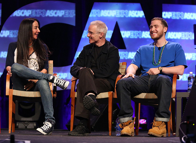 """Songwriter-producer Antonina Armato, songwriter-producer Mike Posner and composer Michael Brook during the """"We Create Music"""" panel"""