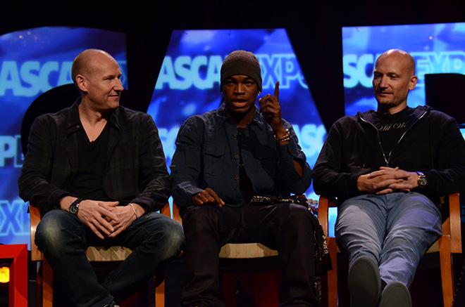 Stargate's Tor Hermansen and Mikkel Eriksen with Ne-Yo during their panel