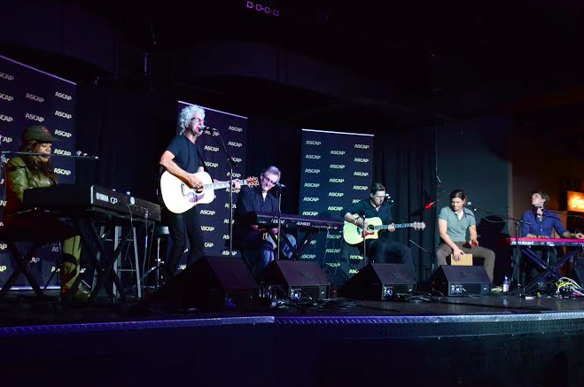 """HOLLYWOOD - APRIL 30: From left, Valerie Simpson, Kevin Cronin, Mike Reid, Isaac Hanson, Zac Hanson, and Taylor Hanson at the """"I Create Music"""" Center Stage at the 2015 ASCAP """"I Create Music"""" EXPO at OHM Nightclub on April 30, 2015 in Hollywood, California. (Photo by Tonya Wise/PictureGroup)"""