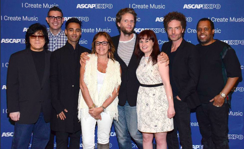 """HOLLYWOOD - APRIL 30: ASCAP EVP Creative Services John Titta, and from left, ASCAP VP Pop/Rock, Membership Marc Emert-Hutner, REVOLT TV's Amrit Singh, and songwriters Claudia Brant, Toby Gad, Deborah Lurie, Richard Marx, and No I.D. at the We Create Music panel at the 2015 ASCAP """"I Create Music"""" EXPO at the Loews Hollywood Hotel on April 30, 2015 in Hollywood, California. (Photo by Tonya Wise/PictureGroup)"""