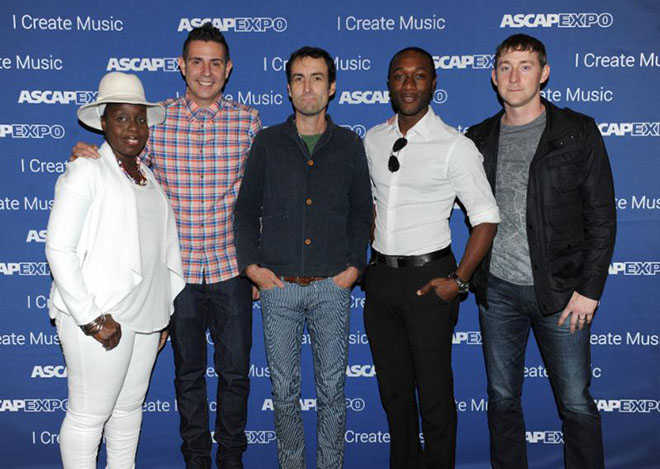 """HOLLYWOOD - MAY 2: From left, Andrea Martin, ASCAP VP Pop/Rock Membership Marc Emert-Hutner, Andrew Bird, Aloe Blacc, and Ashley Gorley at The Writers Jam at the 2015 ASCAP """"I Create Music"""" EXPO at the Loews Hollywood Hotel on May 2, 2015 in Hollywood, California. (Photo by Frank Micelotta/PictureGroup)"""