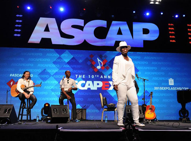 """HOLLYWOOD - MAY 2: From left, Woody Aplanalp, Aloe Blacc, and Andrea Martin perform at The Writers Jam at the 2015 ASCAP """"I Create Music"""" EXPO at the Loews Hollywood Hotel on May 2, 2015 in Hollywood, California. (Photo by Frank Micelotta/PictureGroup)"""