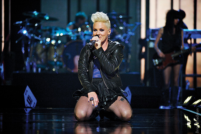 PINK, 2012 This was Pink's opening song while performing in Las Vegas. For a millisecond she looked straight into the camera. Under her jacket she was wearing a harness hooked to a wire—and she went flying around the arena. Really tore it up.