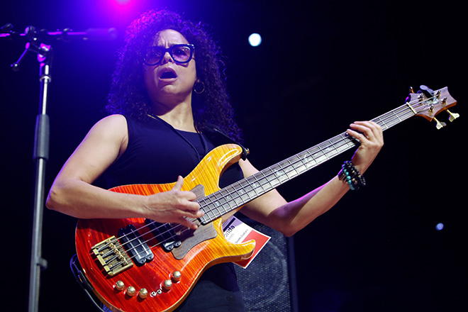 Rhonda Smith performs on her PRS bass during one of dozens of presentations by famous artists.