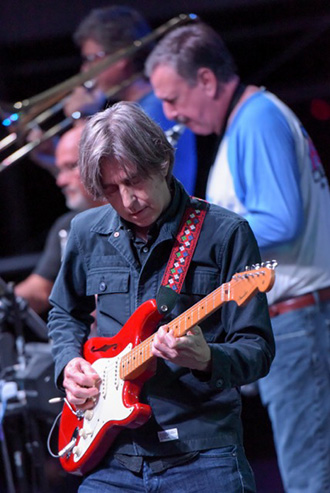 Guitar virtuoso Eric Johnson performs with Sweetwater's house band, The Sweetwater All Stars, which includes Chuck Surack on saxophone.